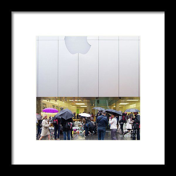 Rip Steve Jobs October 5 2011 San Francisco Apple Store Memorial Square Framed Print by Wingsdomain Art and Photography  wingsdomain celebrity celebrities steve jobs steven jobs steve job steven job death of steve jobs dead death sad famous people st…