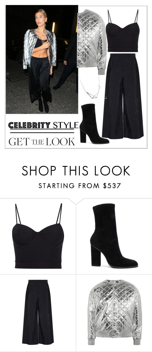 """""""Celebrity style Haily Baldwin!"""" by faten-m-h ❤ liked on Polyvore featuring Alexander Wang, Osman and Yves Saint Laurent"""