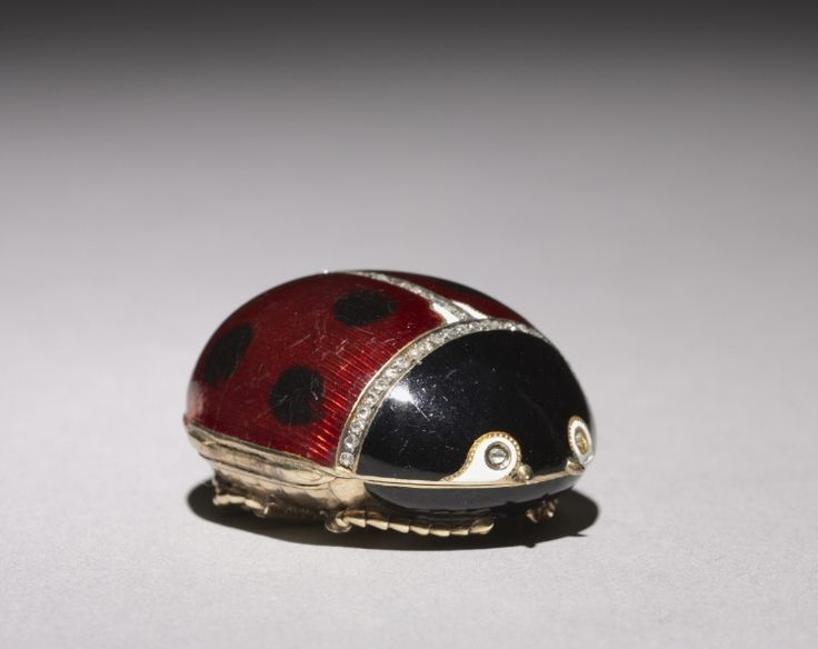 Ladybug Box, 1896-1903 firm of Peter Carl Fabergé (Russian, 1846-1920), fabricated by Mikhail Evlampievich Perkhin (Russian, 1860-1903) gold, enamel, diamonds