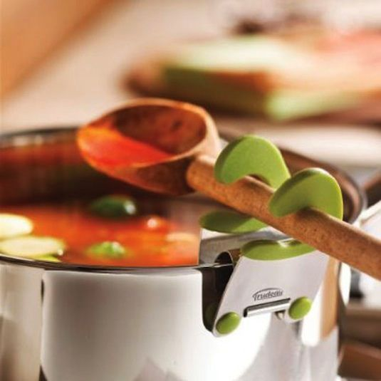 Pot Clip  What to do with that dripping spoon. Hmm, how about a pot clip that allows you to rest your utensils right over the pot!? It will ...