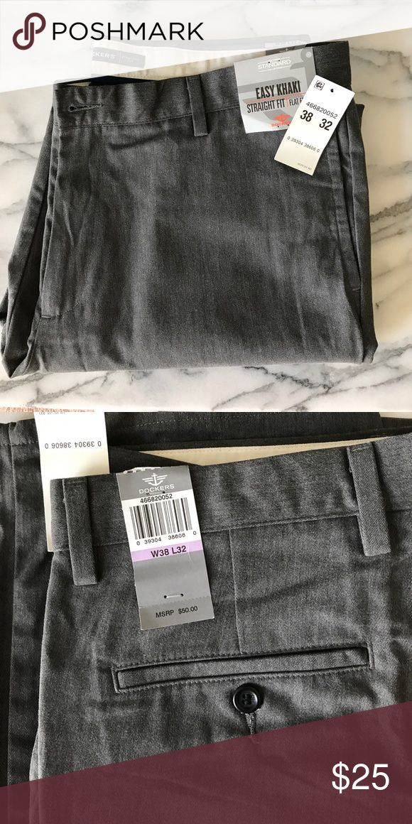Dockers Gray Slacks Easy fit, gray-brushed khaki slacks with a flat front and straight fit. Cotton Polyester blend for cool comfort... 38/32 NWT. Dockers Pants Chinos & Khakis