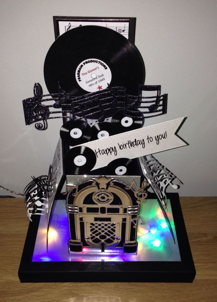 TONIC STUDIOS Jukebox and music notes dies pop up box card. Made a DANCEFLOOR with multi colour flashing lights for it to Proudly sit on!