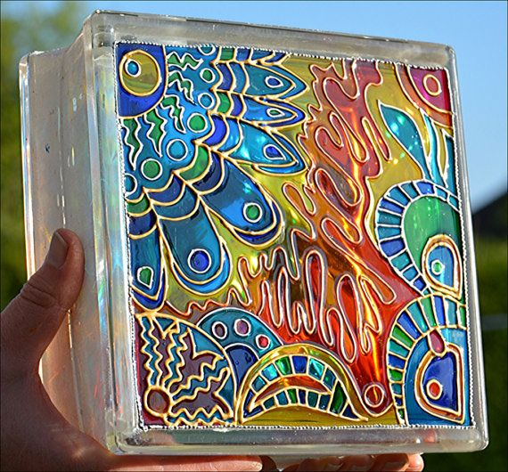Painted Glass Brick / Night Light, Sun Catcher / HAND PAINTED & RECYCLED…