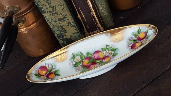 Royal Crown Apple Blossom 2931 Ceramic Olive Tray Oval Porcelain Dish Table Decor Gifts Crown Apple