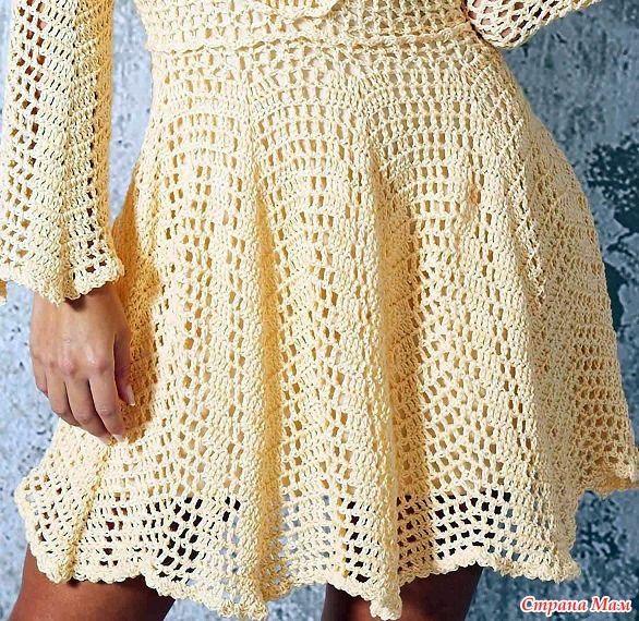 . Светло-желтое платье CANDY CHARME. - Все в ажуре... (вязание крючком) - Страна Мам