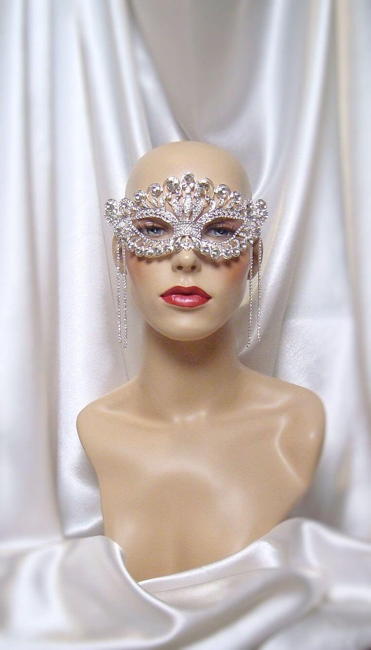 Crystal Rhinestone Masquerade Mask, Mardi Gras Mask, Masquerade Ball Mask, Bridal Mask, Crown Mask by LadyKatherineHats on Etsy https://www.etsy.com/listing/493158972/crystal-rhinestone-masquerade-mask-mardi