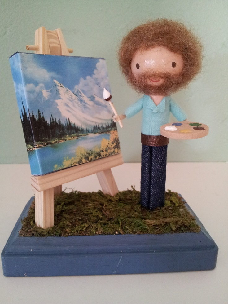 Bob Ross Clothespin Doll  MADE TO ORDER by LittleBun on Etsy, $40.00