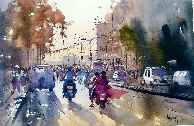 streets of india  watercolor on paper size 14x21 inches