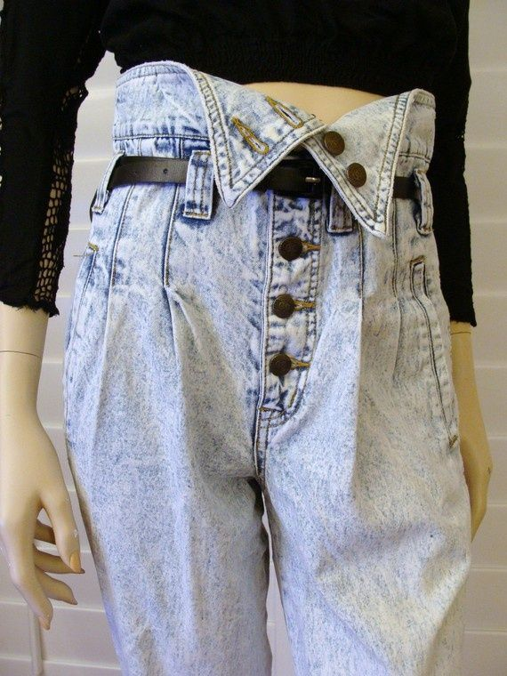 80s Z.Cavarrici fold over acid washed jeans! Had this pair in a darker wash. ♡