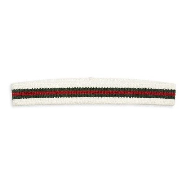 Gucci Web Headband ($255) ❤ liked on Polyvore featuring accessories, hair accessories, hats, white, headband hair accessories, hair band headband, thin headbands, white headband and elastic headbands