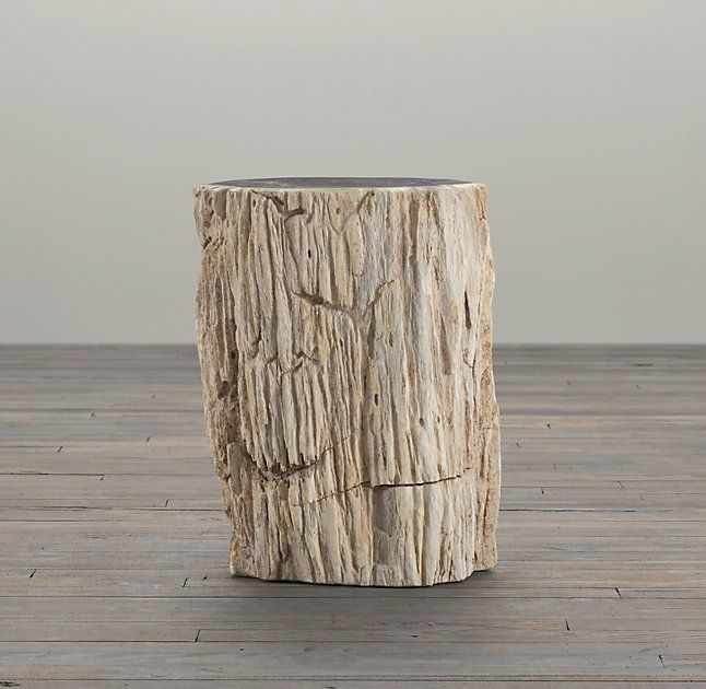 Petrified Wood Stump Mixed Side Table