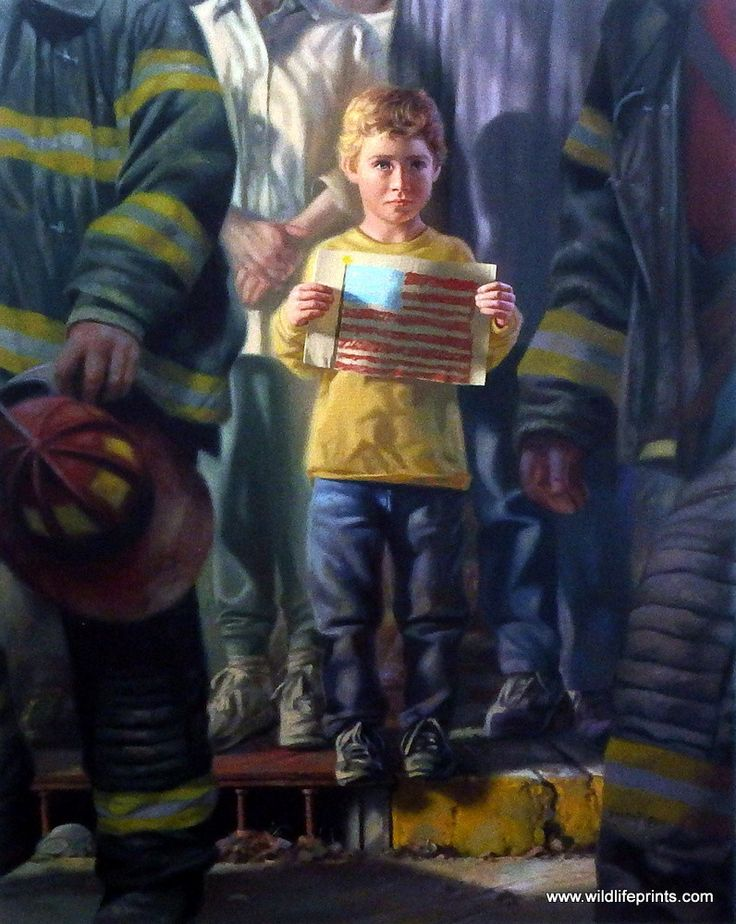 A young boy stands near two firefighters holding up his hand-drawn American Flag. Bob Byerley's print THE FLAG shows that patriotism knows no age limits. As the artist Bob Byerley followed the tragic