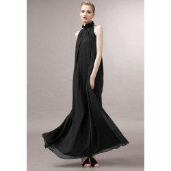 $11.70 Fashion Style Stand Collar Ruffled Flounce Edge Self-Tie Sleeveless Chiffon Dress For Women