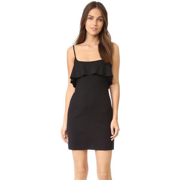 Susana Monaco Flutter String Dress (201 AUD) ❤ liked on Polyvore featuring dresses, black, jersey dress, shelf bra, susana monaco dress, balcony bra and susana monaco