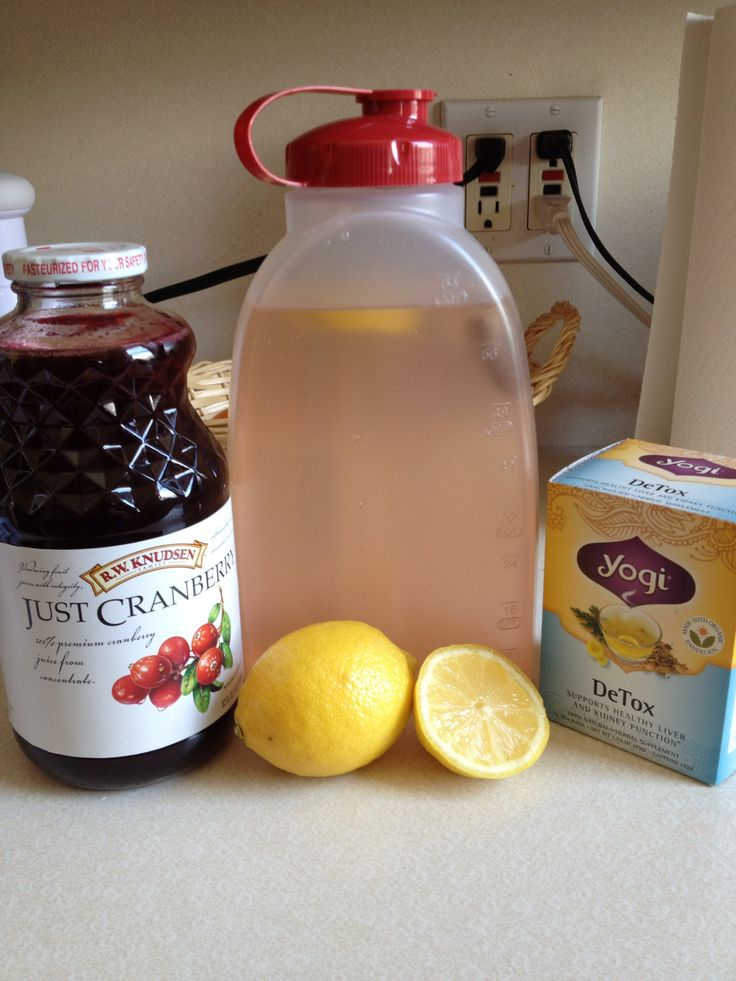 detox water! 1 dandelion root tea bag 1T no sugar added, 100% cranberry juice 2T lemon juice 60 oz distiller water Combine all ingredients and drink 1 mixture every day for 7 days. Be sure to leave the Tea bag in all day