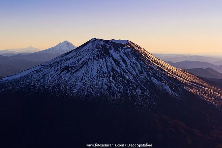 Lonquimay, Llaima & Villarrica volcanoes. Great photo by Diego Spatafore