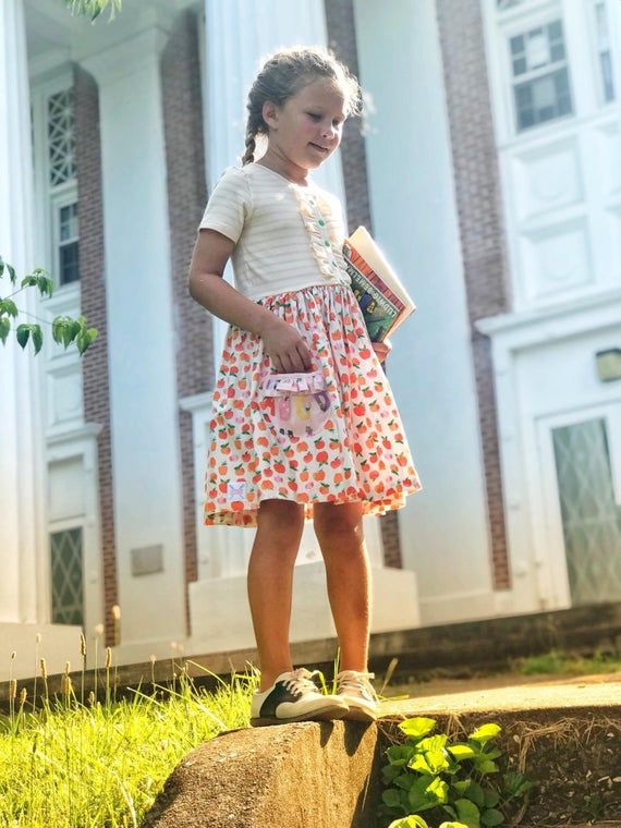 Back to school outfit – back to school dress – girls dress with apples – girls back to school clothe