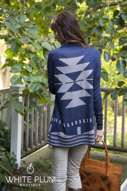 Aztec Sweater Cardigan I have a crop jacket like this but in fall colors tans light green, brouns trimmed in black, also have a pair of cowboy style boots with sanme pattern on top half of boots neen to get a longer under shirt or just wear skinny jeans or wear a flauncy short skirt w/ leggings
