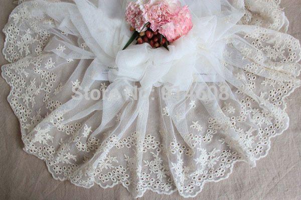 Vestido de Novia de Encaje Color Beige Suave Tela, 40 cm Ancho Bordado de Gasa Bordado de Tul de Encaje bordados aviamentos