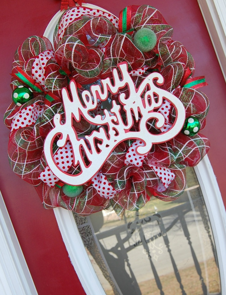 Mesh Christmas Wreath Christmas Decor Pinterest