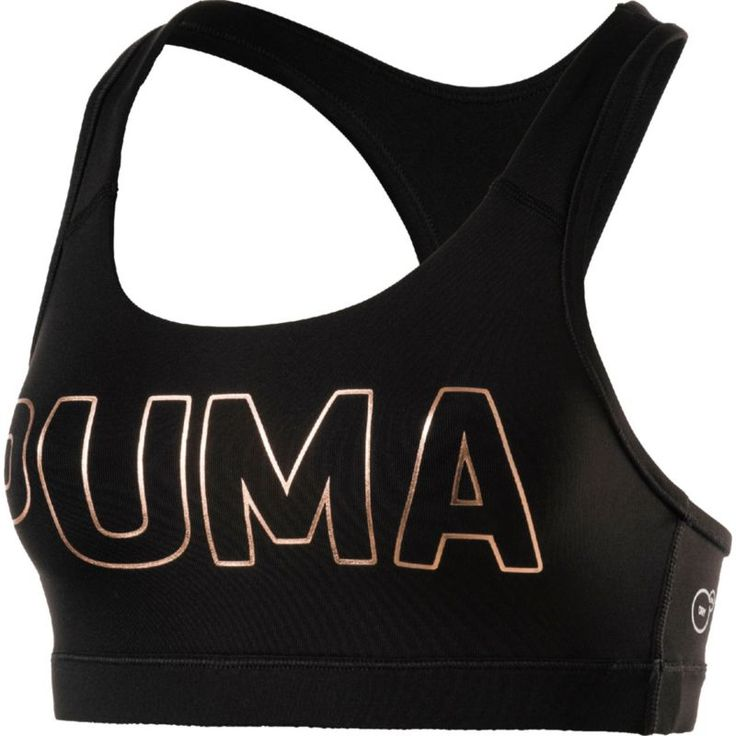 Puma Women's Kylie Jenner Powershape Forever Logo Sports Bra, Size: Medium, Puma Black/Puma Copper