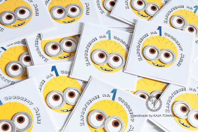 minions card, invitation for first birthday patry