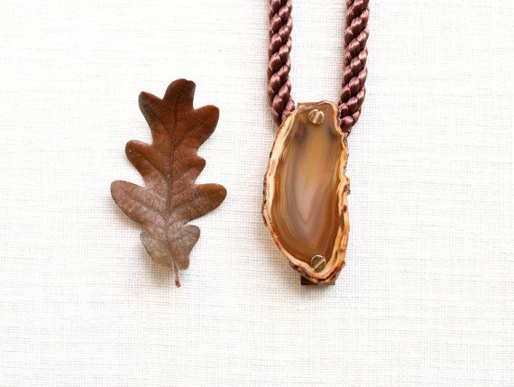 Agate Necklace Natural Brown Agate Necklace Agate by ScrewandStone