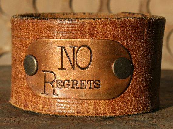 JunkGirls NO REGRETS Leather Cuff Made from Vintage Belt and Repurposed Brass