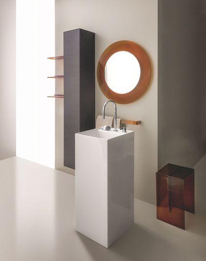 Un lavabo gain de place avec une colonne en céramique