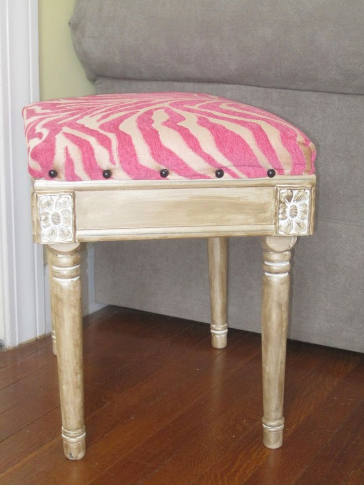 Decorated chaos pink and gold glam foot stool makeover