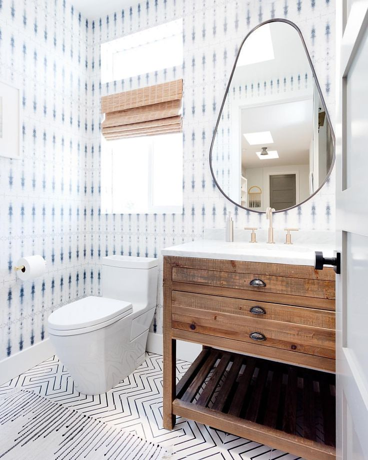 Beachy bathroom with reclaimed wood wall paper