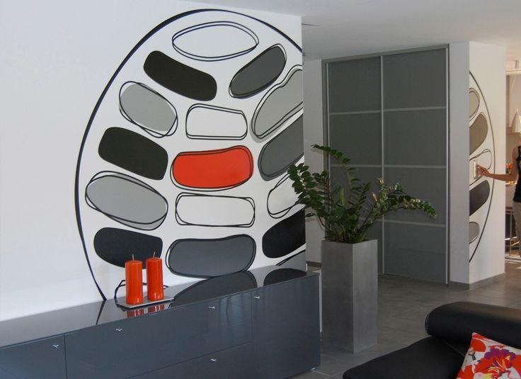 Création sur mesure d'un décor XXL en vinyle. Design mural, Karine Montreuil, Atelier Kaali. http://design-mural.com/