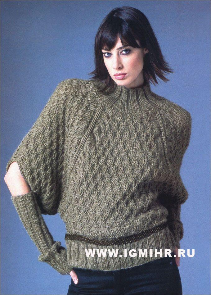 Стильный подход к обычным вещам! Коричневый свитер и митенки, от Schachenmayr Select. Спицы