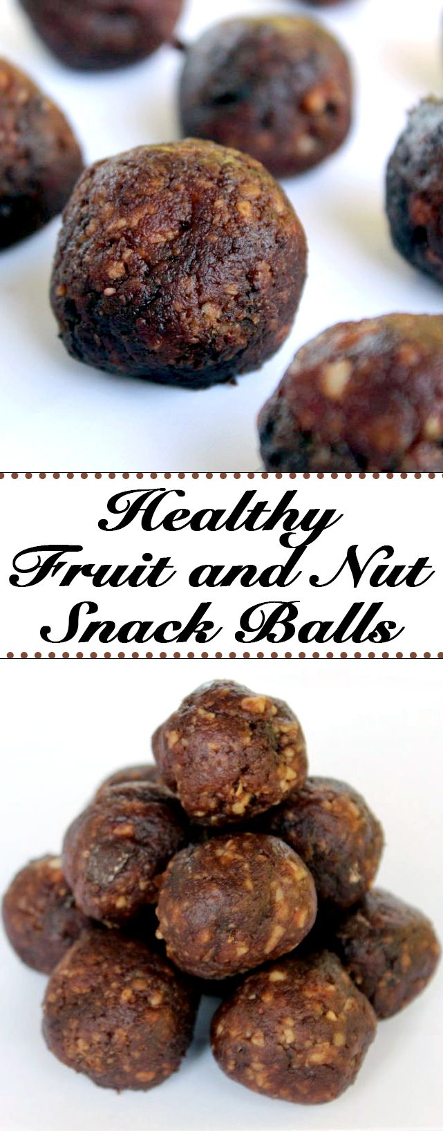 These healthy fruit and nut snack balls make a perfect snack anytime. They are essentially dates, cranberries, cherries, almonds, and walnuts, and deliver the nutrition of the fruit and the protein and fiber of the nuts.