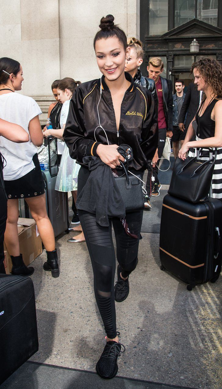 Pin for Later: Gigi and Bella Will Inspire You to Embrace Fashion's Chillest Trend  Accessorize leggings and sneakers with stylish add-ons like a luxe bag and bomber, à la Bella.