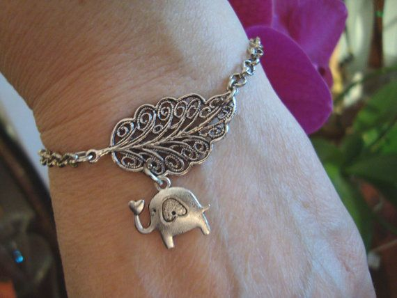 Leaf and elephant charm bracelet silver metal chain by BiancasArt