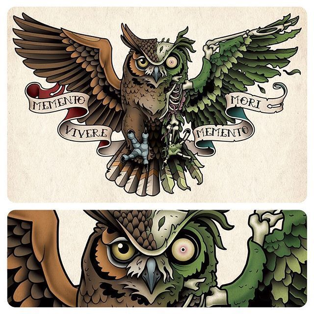 This Is A Half Owl Half Zombie Undead Owl Chest Tattoo I Designed For Ticen Monson Owltattoo Owl Tattoo Chest Owl Tattoo Chest Zombie Tattoos Chest Tattoo