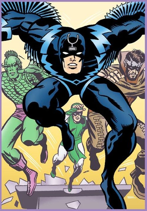 Black Bolt, and part of the royal family Triton, Karnak & Gorgon - art by Jack Kirby - Marvel Comics