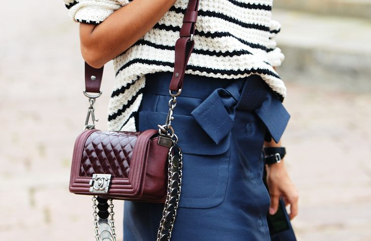 Blue, white, and oxblood.
