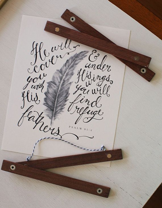 8 Magnetic Wooden Poster Hangers by FeatherAndSerif on Etsy