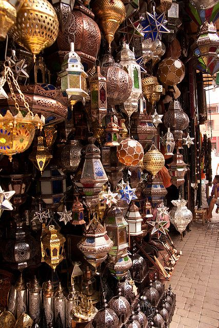 Handcrafted lanterns at the souk in Marrakech, Morocco (by Angry Mr-T).