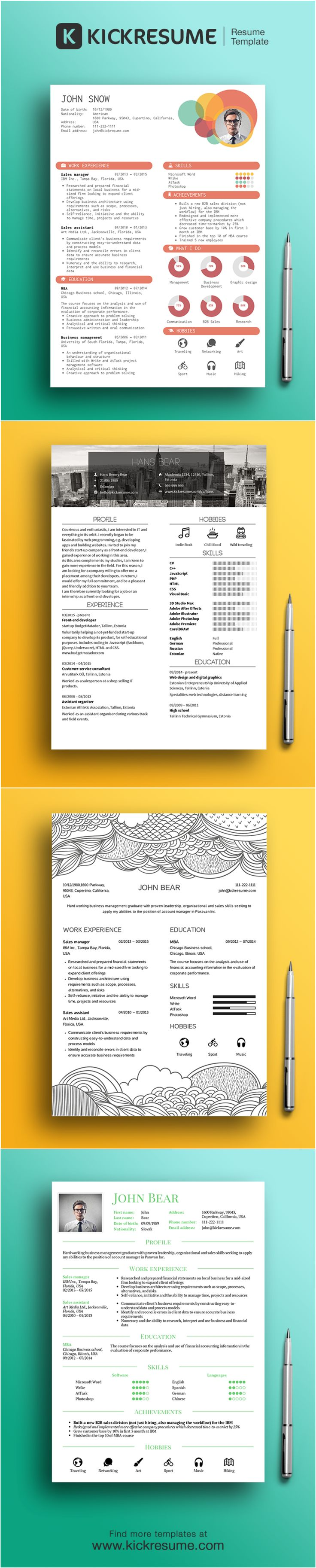 beautiful infographic resume templates by wwwkickresumecom - Graphic Resume Templates