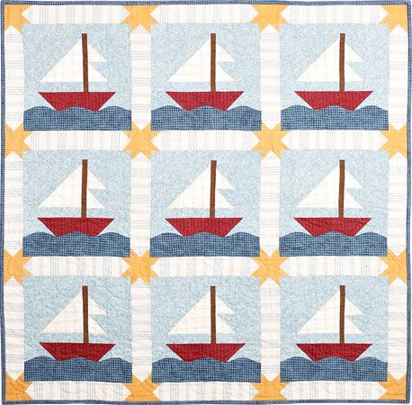 I found a couple of sailboat quilt patterns I like for the boys. This is a kit in flannel.