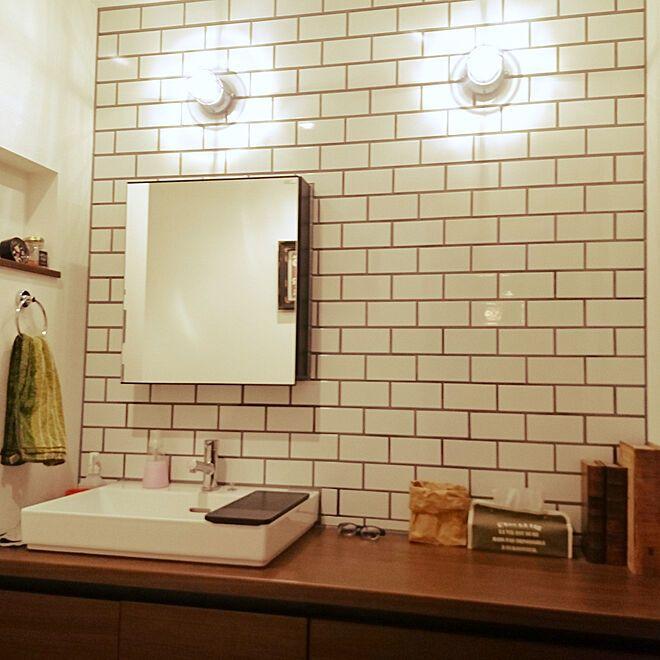 リクシルの洗面台 Lixil サブウェイタイル ボックスミラー