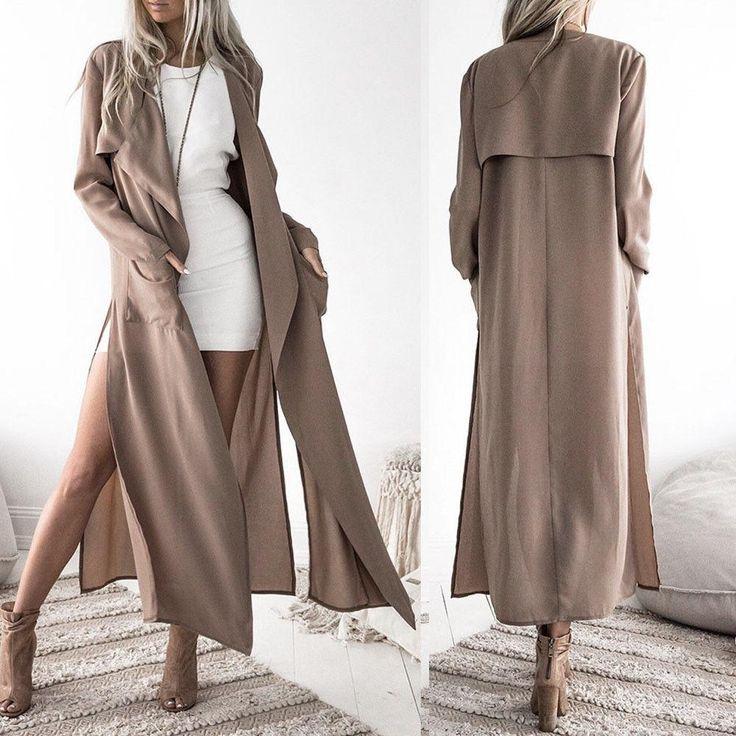 Women Coat Ladies Long Sleeve Tops Cardigan Waterfall Jacket Outwear Long Coat