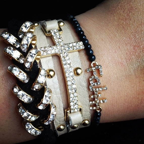 Braided Crystal Bracelet: Crystals Crosses, Crosses Wraps, Arm Candy, Wraps Bracelets, Studs Crystals, Arm Parties, Bling Bling, Leather Bracelets, Crosses Bracelets