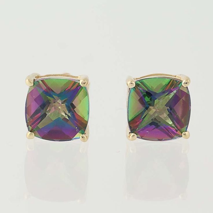Mystic Topaz Earrings - 14k Yellow Gold Stud Style Pierced 3.80ctw N6811 by WilsonBrothers on Etsy https://www.etsy.com/listing/514900909/mystic-topaz-earrings-14k-yellow-gold