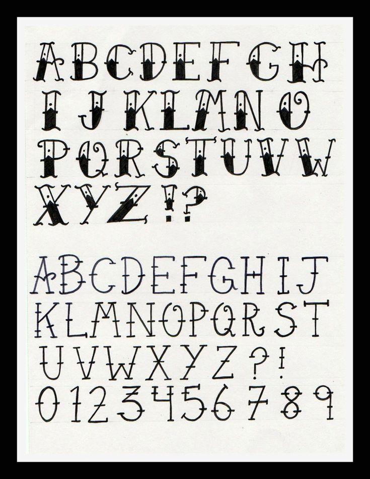 Tatuaggi old school, calligrafia delle lettere, idee per scritte con lettere vec… – Script