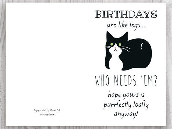 Funny Birthday Cards Tuxedo Cat Printable