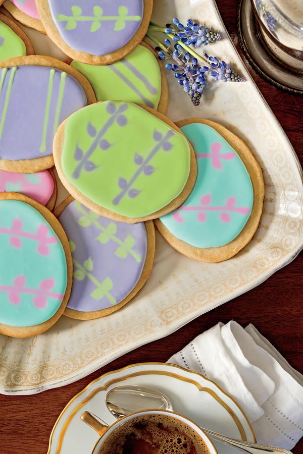Easter-Egg Shortbread Cookies - 52 Delightful Spring Desserts - Southernliving. Recipe: Easter-Egg Shortbread Cookies  Because a large batch of the dough is tricky to work with, we don't recommend doubling this recipe.  Video: Easy Icing Technique for Decorating Sugar Cookies  Video: How To Flood Icing for Sugar Cookies